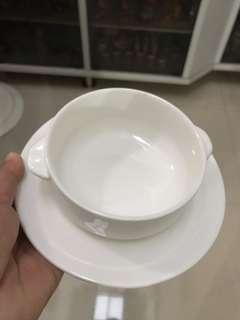 Soup bowl with saucer (5 pcs)
