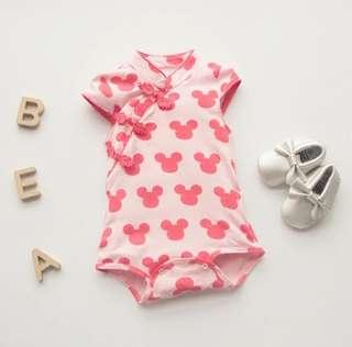 [Pre-order] Chinese New Year baby romper clothes cheongsam qipao cute Minnie Mouse pink red blue green