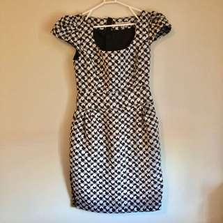 Black White Knit Work Dress Size 10 S