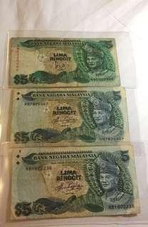 Malaysia 5 Ringgit with 'cross' on reverse