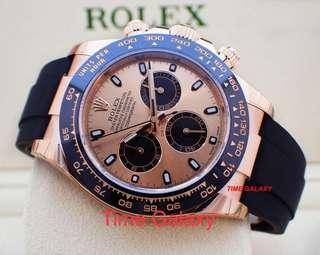 Brand New ROLEX Cosmograph Daytona 40mm solid Everose Gold with Black Rubber Auto Chrono watch. Swiss made. Ref model : 116515LN Pink Dial
