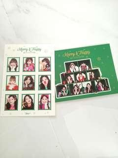 twice merry and happy postcard + sticker set instock