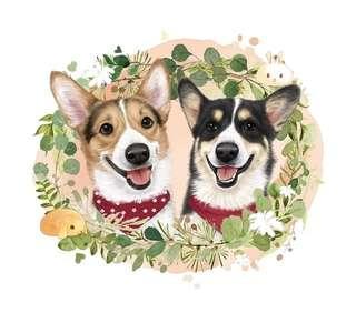 🚚 customized dog portrait