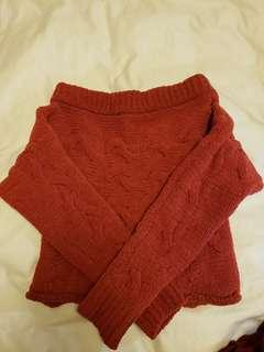 F21 red knit sweater