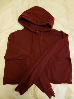 Burgundy Red crop hoodie Small