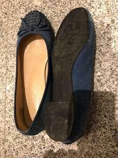 Clearance! Pre loved staccato blue suede ballet flats