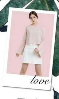 FREE ONGKIR! Lilou Official Bell Sleeve Tops Soft Pink Blouse