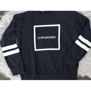 Navy Sweater with lettering