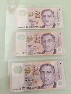 Singapore $2 Notes with fancy number