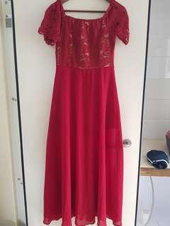 Red dress with inner lining