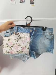 Factorie Denim Shorts w/ Floral Pattern