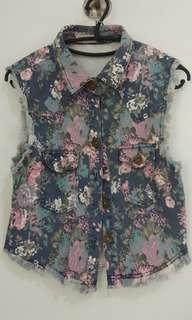 Flower Jeans Vest ala OOTD Zascia Adya Mecca