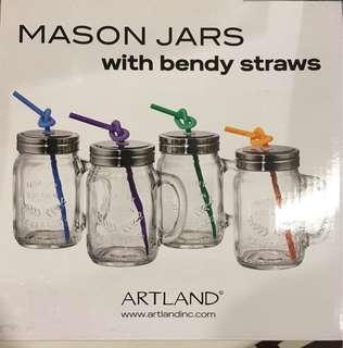 Mason jars with bendy straws #XMAS50