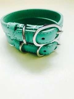 Mint green padded leather cat collar