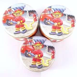 Jenny Bakery Fireman Teddy Biscuit Tins