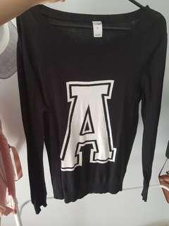 "K-mart Black Jumper w/ ""A"""
