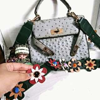 Set: birkin bag + monchichi doll +fendi inspired bag strap
