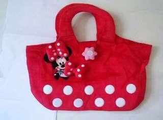 Disney Minnie plush tote bag 迪士尼米尼毛毛手挽袋