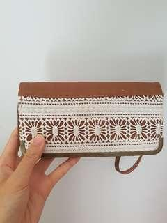 Marikai Tan Wallet w/ White Crochet Detailing