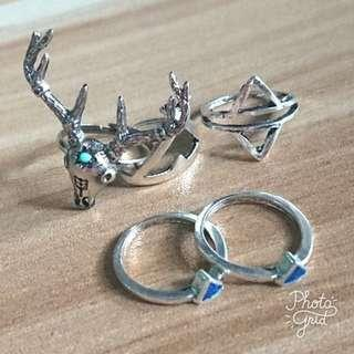 100%new (set of 5) vintage deer ring