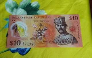 Brunei $10 Poly. Note
