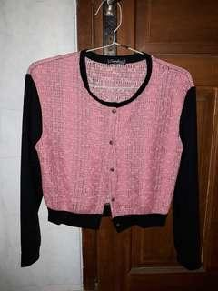 Outer Rajut Black & Pink