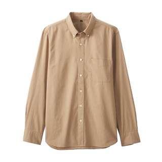 全新 無印良品 MUJI 胚布染 牛津布 扣領襯衫 有機棉 淺米 卡其色 L號 休閒 時尚