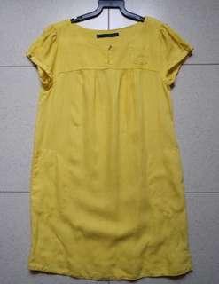 ZARA linen relaxed line pockets cherry yellow Dress Tunic