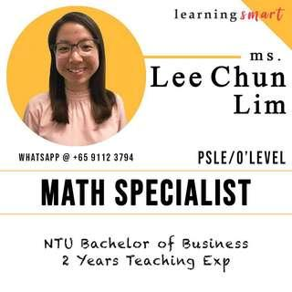 Math home tuition primary PSLE Secondary O level IGCSE