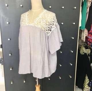 Korean style lace violet breezy smock top with flare sleeve