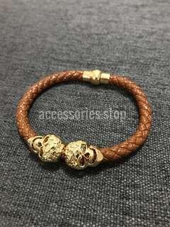 🚚 🔥INSTOCK | Gold Skull Leather Braided Bracelet