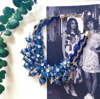 Brand new statement handmade one of a kind 3D bubbles drop faceted stones link necklace