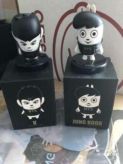 V & jungkook hip hop monster mini figurines