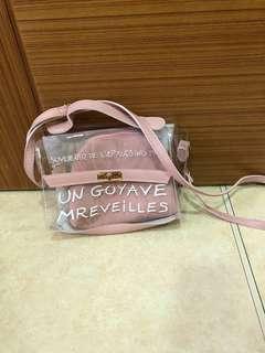 🚚 透明粉色肩背包 手提包