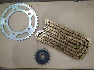 Honda cb500x /n/f 1set set sprocket with gold chain