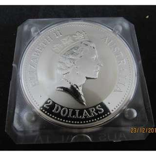 1993 Australia 2 Dollars Kookaburra 2 Oz.  Giant Silver Coin - MS. with capsule