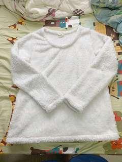Sweater 家居睡衣set 毛茸茸 暗條紋 兩件套 size M-L