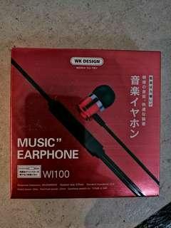 WK (香港設計) 有線通話音樂耳機 (已包順豐快遞)