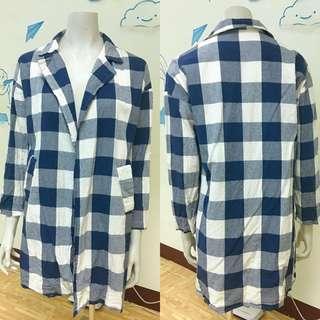 🧥冬裝上架❗️二手休閒款藍色格紋長版上衣