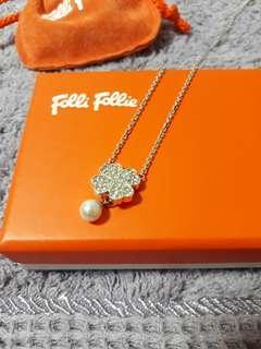 Folli Follie 純銀 幸運草珍珠項鍊