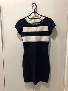 Navy blue and white stretchable Dress