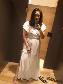 White double slit maxi dress