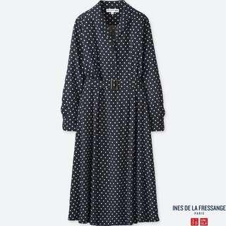 🚚 Uniqlo x Ines De La Fressange (IDLF) Rayon Long Sleeve Dress in Navy Polkadots