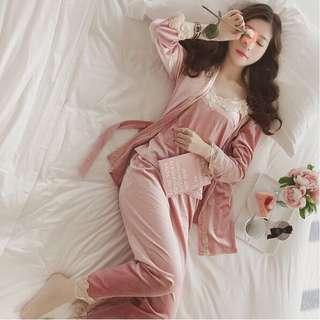 🔥 Hot Item New Velvet Pyjamas Nightwear Suit Long Pant Pink