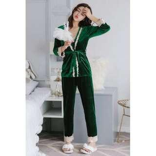 🔥 Hot Item Velvet Pyjamas Suit Long Pant & Long Sleeve Nightwear Green