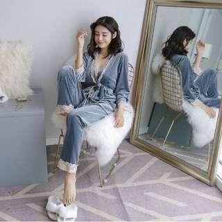 🔥 New Velvet Pyjamas Suit Nightwear Long Pant & Long Sleeve Sky Blue