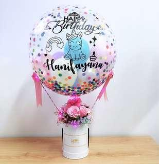 """24"""" Personalised Hot Air Balloon Flower Box [SMALL] - US Brand Balloon"""