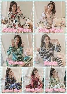 🔥 Satin Nightwear Lingerie Floral Long Pant Long Sleeve