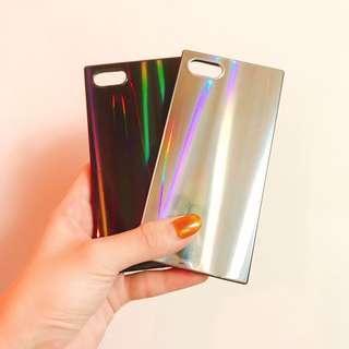 🚚 i7/i8鐳射炫光方型手機殼/個