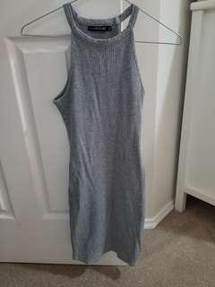 GREY RIBBED MINI DRESS